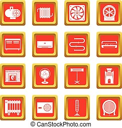 Heating cooling air icons set red - Heating cooling air...