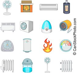 Heating cooling icons set, cartoon style