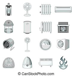 Heating cooling icons set monochrome