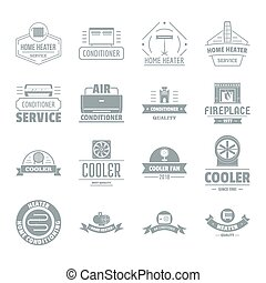 Heating cooling logo icons set, simple style - Heating...