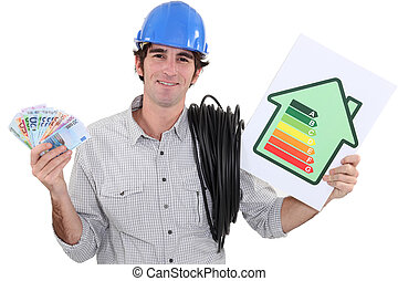 heating engineer holding bank notes rejoicing over purchase power