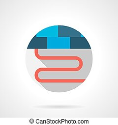 Heating floor section round flat vector icon