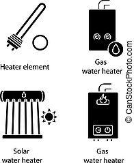 Heating glyph icons set. Electric and gas water heaters, heating boiler, industrial water heater. Silhouette symbols. Vector isolated illustration