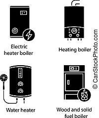Heating glyph icons set. Electric boiler, gas and electric tankless water heater, solid fuel boiler. Silhouette symbols. Vector isolated illustration