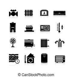 Heating Icons Black Set