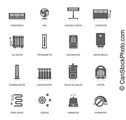 Heating icons - Heating ventilation and conditioning vector...