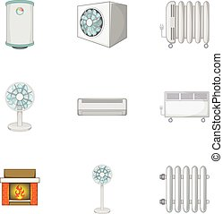 Heating icons set, cartoon style