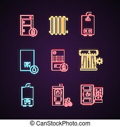 Heating neon light icons set. Boilers, radiators, water heaters. Gas, electric, solid fuel, pellet, solar boilers. Glowing signs. Vector isolated illustrations