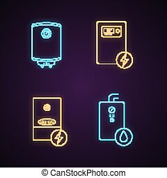 Heating neon light icons set. Central heating system. Electric and gas water heater and heating boilers. Glowing signs. Vector isolated illustrations