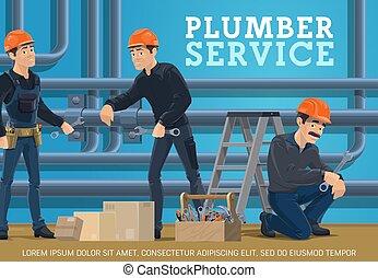 Heating pipes repair. Plumber service