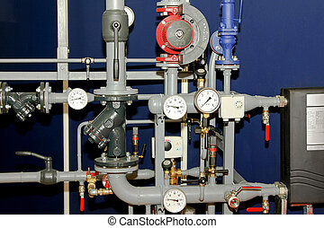 Heating pipes with vents and gauge meters