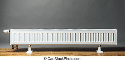 heating radiator on grey background