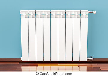 Heating radiator on the wall, 3D rendering