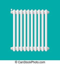 Heating radiator. Retro heating system. Vector illustration...