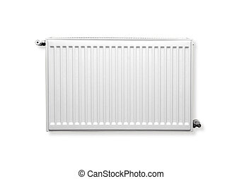 Heating radiator with thermostat isolated on white. with ...