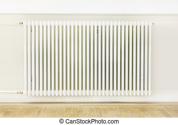 Heating system attached to a white wall