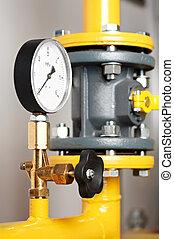 Heating system Boiler room equipments - Closeup of manometer...