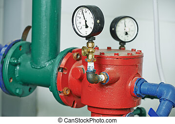 Heating system Boiler room equipments - Closeup of...