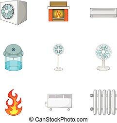 Heating system icons set, cartoon style