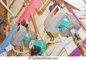 Heating system. Pumps, tubes and valves