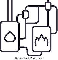 heating system vector line icon, sign, illustration on background, editable strokes