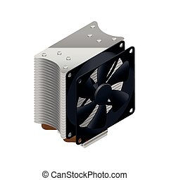 Heatsink for the processor detailed isometric icon vector...