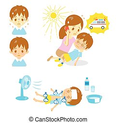 heatstroke, ασθενοφόρο , βοήθεια , πρώτα