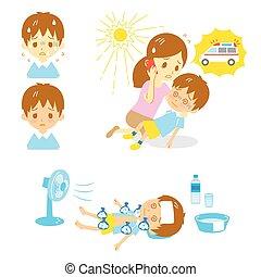 heatstroke, ambulância, ajuda, primeiro
