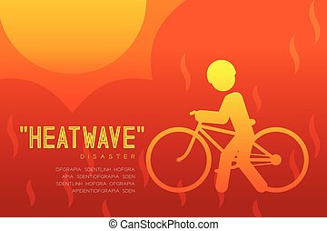 Heatwave Disaster of man icon pictogram with bicycle design ...