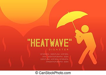 Heatwave Disaster of man icon pictogram with umbrella design...