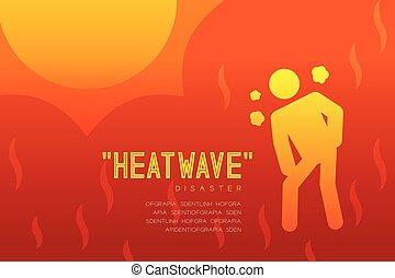 Heatwave Disaster of thirsty man icon pictogram design ...