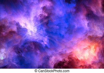 Light rays burst from surreal, blue and purple storm clouds as they push up against roiling red and yellow clouds.
