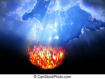 Heaven and Hell. belief in a God that loves all humans