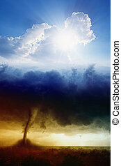 Heaven and hell - Nature force background - blue sky with...