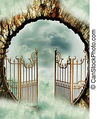 Heaven door in the sky with clouds