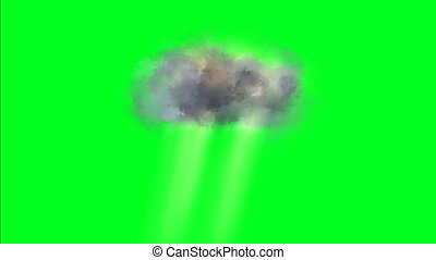 Heaven clouds with rays on green screen