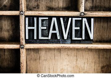 Heaven Concept Metal Letterpress Word in Drawer