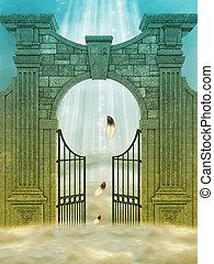 Heaven door in the sky with feathers