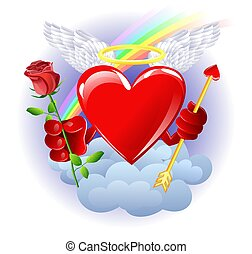 Heaven heart - Heart from heaven with rose