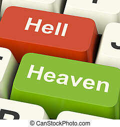 Heaven Hell Computer Keys Shows Choice Between Good And Evil...