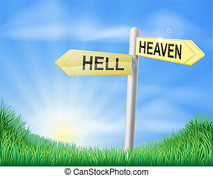 Heaven or Hell decision sign - Heaven or hell decision...