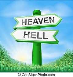Heaven or Hell sign in field