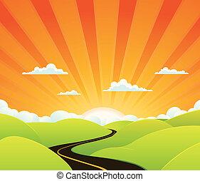 Illustration of a cartoon symbolic road going towards paradise