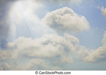 Heaven - Soft light fluffy clouds with rays of sunshine