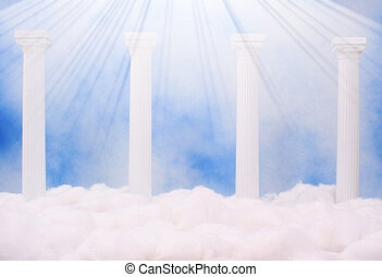 Heaven - Columns and Clouds With Blue Sky