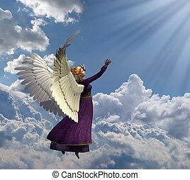 heavenly, ライト, 天使, 手を伸ばす
