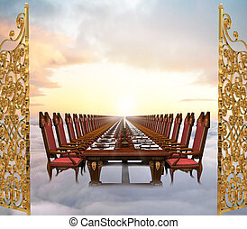 Illustration of the Great Feast at the end of time featuring an infinitely long banquet table set in the clouds just past the gates of heaven