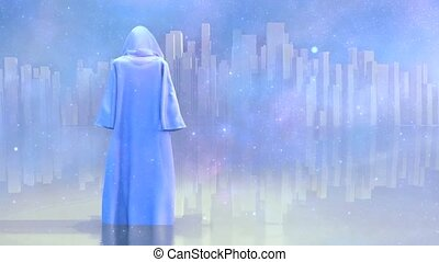 Robed traveler or monk before the heavenly city