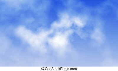 Fly through beautiful white volumetric clouds on blue sky. Seamless loop.