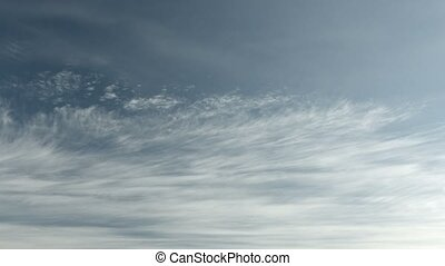 Heavenly cloudscape with layered clouds. Sky timelapse